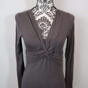 Boden Gray Stretch Jersey Twist Front Top 4